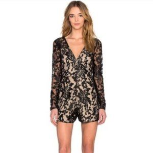 Revolve Lovers + Friends Eve Small Black Lace Long Sleeve Sexy Romper Shorts